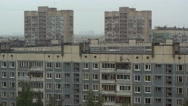 Area building in fog on the outskirts of the city Stock Footage