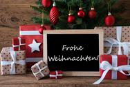 Colorful Tree, Frohe Weihnachten Means Merry Christmas Stock Photos