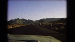 1966: unclear sign urges driver to keep right in beautiful desert landscape Stock Footage