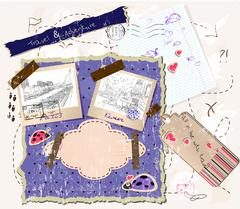 Scrapbooking set with stamps and photo frames. Stock Illustration