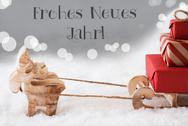 Reindeer With Sled, Silver Background, Neues Jahr Means New Year Stock Photos