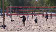 Toronto eastern beaches boardwalk and volleyball Stock Footage