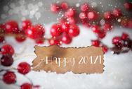 Burnt Label, Snow, Snowflakes, Text Happy 2017 Stock Photos