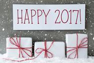 White Gift With Snowflakes, Text Happy 2017 Stock Photos