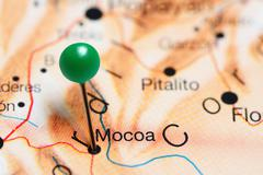 Mocoa pinned on a map of Colombia Stock Photos