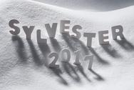 Sylvester 2017 Means New Years Eve, White Letters, Snow Stock Photos