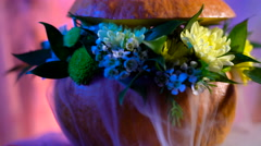 Flower arrangement on the basis of the pumpkin. Mystic steam flowing through the Stock Footage