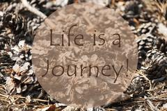 Autumn Greeting Card, Quote Life Is A Journey Stock Photos