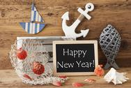 Chalkboard With Summer Decoration, Text Happy New Year Stock Photos