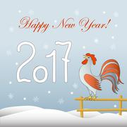 New year`s card with rooster Stock Illustration