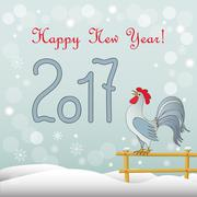 New year`s card with rooster Piirros