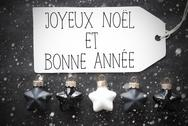 Black Christmas Balls, Snowflakes, Bonne Annee Means Happy New Year Stock Photos