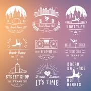 Vector Set of Badges, Logos and Sign Break Dance Stock Illustration