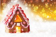 Gingerbread House, Golden Background With Bokeh And Snowflakes, Copy Space Stock Photos