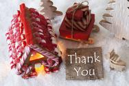 Gingerbread House, Sled, Snow, Text Thank You Stock Photos