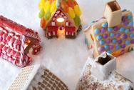 Colorful Gingerbread Houses, Snow, Copy Space Stock Photos
