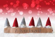 Gnomes, Red Background, Bokeh, Adventszeit Means Advent Season Stock Photos