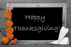 Black And White Blackbord, Hearts, Text Happy Thanksgiving Stock Photos