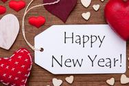 Label, Red Hearts, Flat Lay, Text Happy New Year Stock Photos