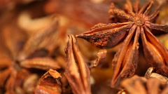 Aromatic dried anisetree spice extreme closeup, mulled wine preparation Stock Footage