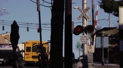 Railroad crossing traffic Stock Footage