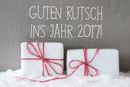 Two Gifts, Snow, Guten Rutsch 2017 Means Happy New Year Stock Photos