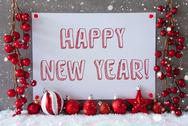 Label, Snowflakes, Christmas Balls, Text Happy New Year Stock Photos