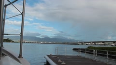 Passing Shot from Tour Boat Launching Out into Pearl Harbor Stock Footage