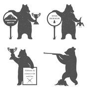 Vector Sign Bears Hunter Stock Illustration