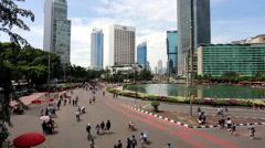 Car Fee Day on Sudirman avenue in Jakarta, Indonesia capital city Stock Footage