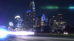 Night Timelapse View of Traffic on South 1st Street Bridge in Austin Texas Stock Footage