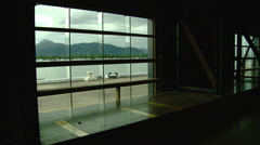 View of Harbor from the interior of the Cairns Port Cruise Terminal - Shed Stock Footage