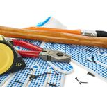 Pile of working tools over isolated white background Stock Photos