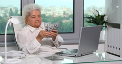 Gray Hair Old Woman Portrait Counting Money Usd Bills Cash in Office Interior Stock Footage