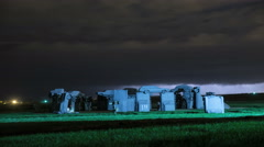 4K Lightning Storm Over Carhenge Stonehenge Replica Stock Footage