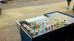 Mobile Counter with Hookah Glass Facilities in Street Stock Footage