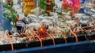 Closeup Mobile Counter with Hookah Glass Facilities in Street Stock Footage