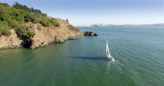 Aerial of yatch sailing in the San Francisco harbor Stock Footage