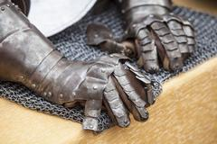 Pair of gauntlets for an armour medieval Stock Photos