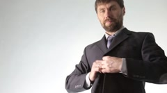 Bearded businessman draws the schedule, circuit block and diagram Stock Footage