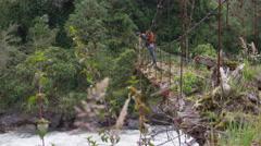 Abandoned Bridge - crane shot up with foreground elements Stock Footage