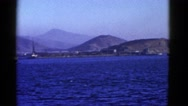 1952: huge boat on the water against a beautiful back drop of our world  Stock Footage