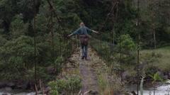 Abandoned Bridge - Explorer on dangerous old crossing Stock Footage