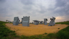 4K Clouds Over Carhenge Monument Stock Footage