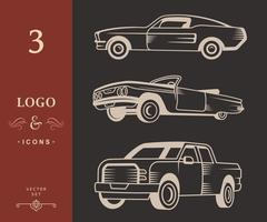 Set of Muscle car, Vintage car and Pickup Truck Piirros