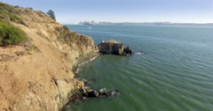 Aerial of Angel Island in the San Francisco harbor Stock Footage