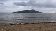Beach at Lamlash Bay with Holy Inn, Arran Scotland Stock Footage