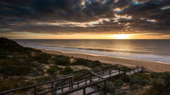 Time Lapse - Sunset at Dalyellup Beach near Bunbury, Western Australia. Stock Footage