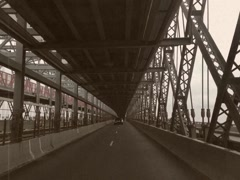 8mm Vintage Style Driving on New York City Bridge Stock Footage