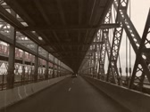 8mm Vintage Style Driving on New York City Bridge Stock Footage